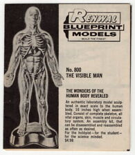 "Vintage Ad Brochure: ""Renwal"" Plastic Models: The Visible Man, Atomic Cannon +"