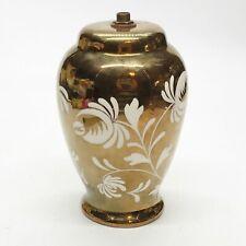 More details for vintage  / antique d.499 grays pottery gold floral pattern lamp base
