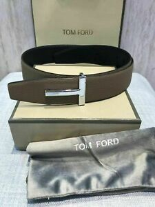 New Tom Ford brown black leather reversible T-buckle logo belt 90/36