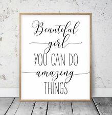 Beautiful Girl You Can Do Amazing Things, Nursery Printable Wall Art Decor
