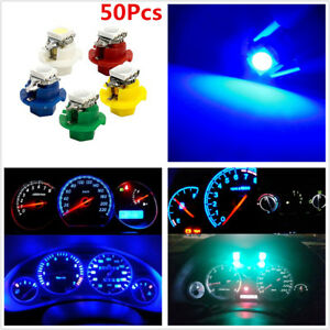 50x T5 B8.4D 5050 1SMD LED Bulb Car Dashboard Cluster Gauge Indicator Side Light