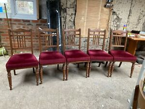 Vintage Antique Brown Wooden Dining Chairs x 5 Red Velvet Seats