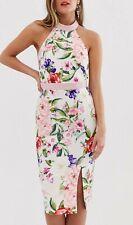 Paper Dolls High Neck Midi Pencil Pink Floral Print Dress Uk 12 #Box 20