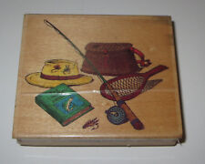 """Fishing Gear Rubber Stamp Pole Net Hat Book Fly Lure Creel Embossing Arts 3.5"""""""