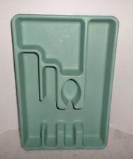 Vintage Rubbermaid Aqua Silverware Holder Tray Flatware Utensil Holder