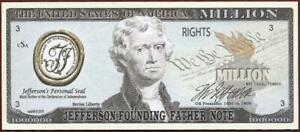 JEFFERSON 🦅 🗽FOUNDING FATHERS 🗽💶 Fantasy Note 🌄Buy More 🗽 Save More