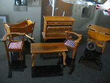 Vintage dollhouse furniture wooden 2 chairs 1 coffee table 1 baby rocker