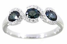 1 Ct Oval Sapphire & Diamond 14k White Gold Ring
