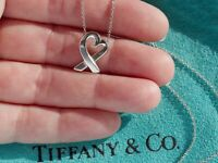 Tiffany & Co Paloma Picasso Sterling Silver Loving Heart Pendant Chain Necklace