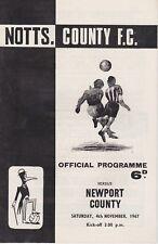 NOTTS COUNTY v NEWPORT COUNTY ~ 4 NOVEMBER 1967 ~  FOOTBALL PROGRAMME