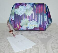NWT $59 Ted Baker Hydrangea Cosmetic Case Make Up Navy Floral