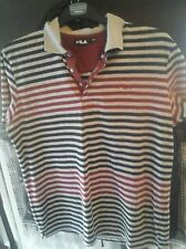 """FILA grey Red  blue lStriped Polo Shirt Top size large 44 """" chest"""