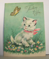 Vintage Greeting Card 1959 Thinking Of You Butterfly Cat Kitten On Flowers Grass