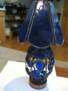 Stained Blue Glass Candle Holder Lamp /Tea Light Votive Copper Base Stand