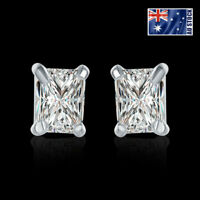 925 Sterling Silver Filled 7MM Square Crystal Lab Diamond Cutting Stud Earrings
