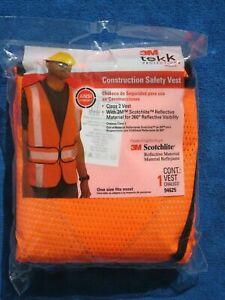 3M Tekk Protection 94625 Construction Reflective Active Safety Vest, Orange,  11