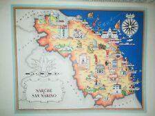 '50 vecchia cartina MARCHE S. MARINO FABRIANO ASCOLI ANCONA LORETO FANO JESI