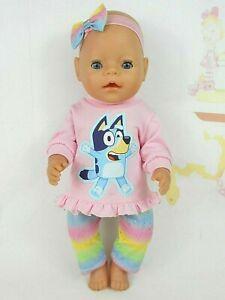 "Dolls clothes for 17"" BABY BORN DOLL~BLUEY DOG TOP~GLITTER RAINBOW LEGGINGS"