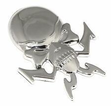 2 X Brand New 3D Chrome Skull Badge Emblem Decal Accessory For Automobile