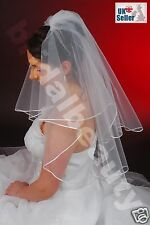 2T White Ivory Bridal Wedding Veil Pearls Diamanté Swarovski® Crystal Satin Edge