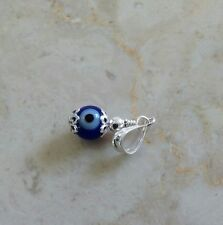 2Sterling Silver 925 Blue Evil Eye Pendant Charm Necklace Glass Bead Silver Bar