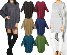 Womens Ladies Celeb Style Hi Lo Dip Back Oversized Baggy Batwing Top Dress 8-26