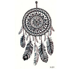 1 x temporary tattoo sticker sheet dream catcher tribal feathers ladies body art