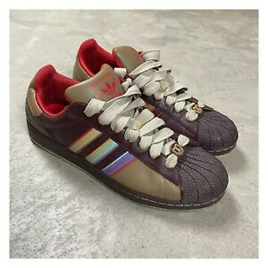 2000s VTG ADIDAS SUPERSTAR PASTEL Brown Shell Toe Tan Shoe Sz 11.5 2008 Fat Lace