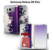 For Samsung Galaxy S8 Plus Wallet Flap Pouch Phone Case - Purple Vines Design