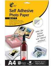 Self adhesive photo paper 10 A4 sheets matt finnish