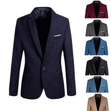 Men Casual Slim Fit Formal One Button Suit Blazer Coat Jacket Tops Stylish M-2XL