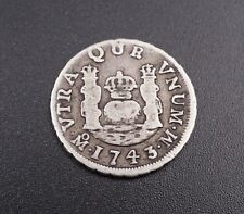 Rare Spain Colonial 1743 1 REAL Philip V Coin Mexico City Mint M533
