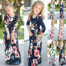 Kids Girls Long Sleeve Maxi Dress Floral Holiday Party Dresses Size 3-10Years