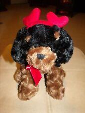 "Nwot Valentines Day Gift Plush Brown/Black Dog w/ Heart Headband 12""L X 10""H"