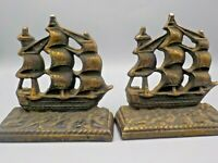Vintage 1940's USS Constitution Navy Ship Cast Iron Bronzed Bookends NAUTICAL