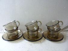 6 tasses et sous tasses Arcoroc, en verre fumé, vintage des années 70