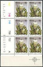 South Africa 1977-82 SG#421, 8c Proteas, Plants Definitive MNH P12.5 Block#E8967
