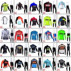 Men Team Cycling Long Clothing Set Jersey Bib Pants Set Shirt Tights Unique Kits
