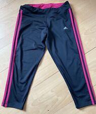 Adidas Black And Pink 3 Stripe Crop Leggings Yoga Running Size M 12-14