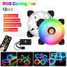 5 Pack RGB LED Quiet Computer Case PC Cooling Fan 120mm w/1 Remote Contro