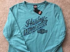 Harley Davidson Long Sleeve Teal Open Neck Top Nwt Women's medium