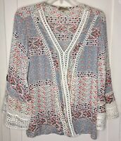 Democracy Geometric Boho Faux Wrap Tunic Top Size Large Red White Blue