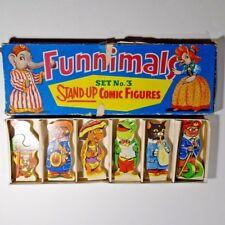 Vintage Funnimals Stand Up Comic Wood Figures Set No. 3 Wiltoys England Animals
