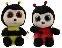 """Set of 2 Ty Beanie Boos 6"""" BUZBY (Bumble Bee) & IZZY (LadyBug) Plush Heart Tags"""
