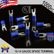 1000 Pack 16 14 Gauge Vinyl Spade Fork Crimp Terminals 6 Stud Tin Copper Core