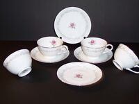 Set of 4 Footed Cups & Saucers in Royal Swirl by Fine China of Japan