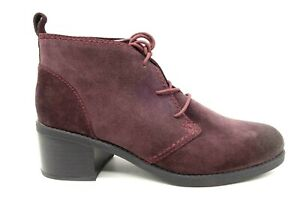 Clarks Burgundy Leather Casual Lace Up Block Heel Ankle Boots Shoes Women's 8 M