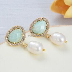 Natural White Rice Pearl Green Amazonite Cz Pave Stud Earrings