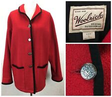S17 Vtg Woolrich Women Sz L Wool Red Black Boucle Jacket Lined