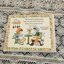 Vintage Greeting Card Note Amish Girls At Table Cat